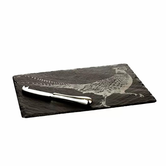 Just Slate Engraved Pheasant Cheese Board & Knife Gift Set