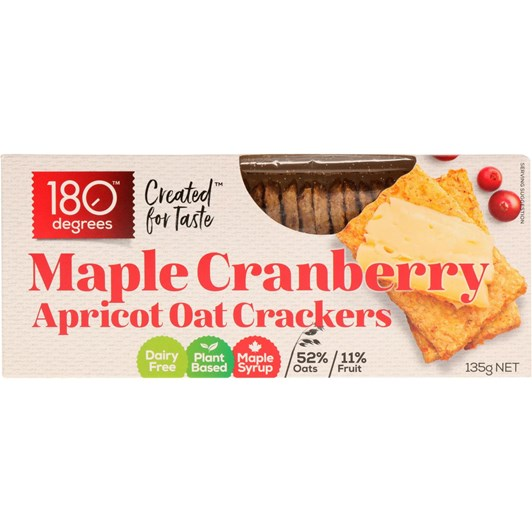 180 Degrees Maple Cranberry Apricot Oat Crackers 135g