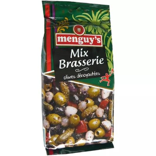 Menguys Mix Brasserie Green Black Pink Olives Gherkin Garlic Onion & Pepper