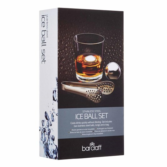 Barcraft Ice Ball Set 3Pc Stainless Steel Gift Boxed