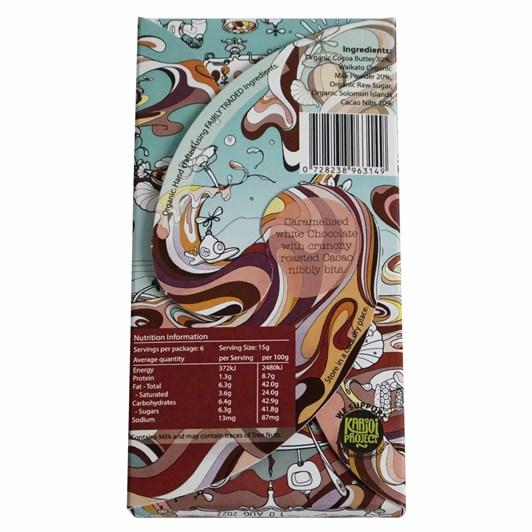 Raglan Chocolate Nibilicious (Caramel White Choc w Cacao Nibs) Choc Bar 90G