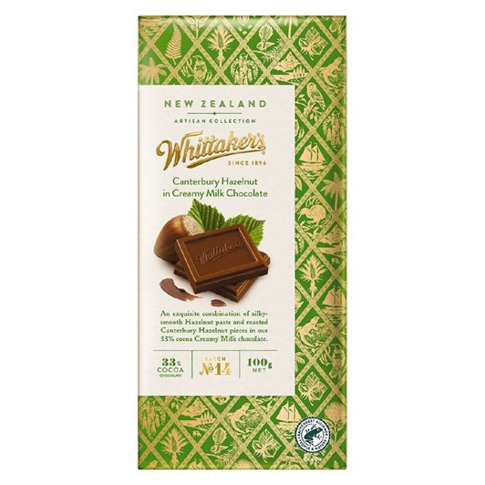Whittaker's Canterbury Hazelnut In Creamy Milk Chocolate 100g