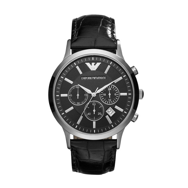Emporio Armani Renato Black Chronograph Watch AR2447 - na