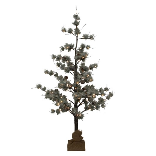 French Country Snow Pine Tree w/ LED Large
