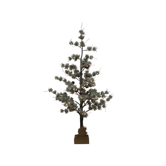 French Country Snow Pine Tree w/ LED Small