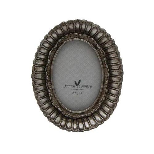 """French Country Fanned Oval Photo Frame Pewter Finish 2.5x3.5"""""""