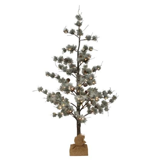 French Country Snow Pine Tree w/ LED Medium