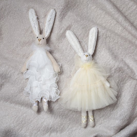 French Country Ballerina Hanging Bunny White Dress