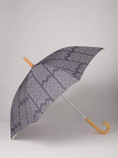 Citta Montana Umbrella with Wooden Handle Carbon/Scoria  117cmdia