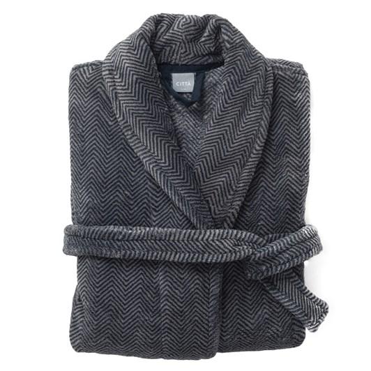 Citta Herringbone II Men's Raschel Dressing Gown Navy/Stone S/M