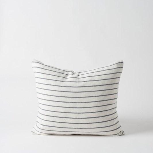 Citta Hand Woven Stripe Linen Cushion Cover Chalk/Carbon 55x45cm