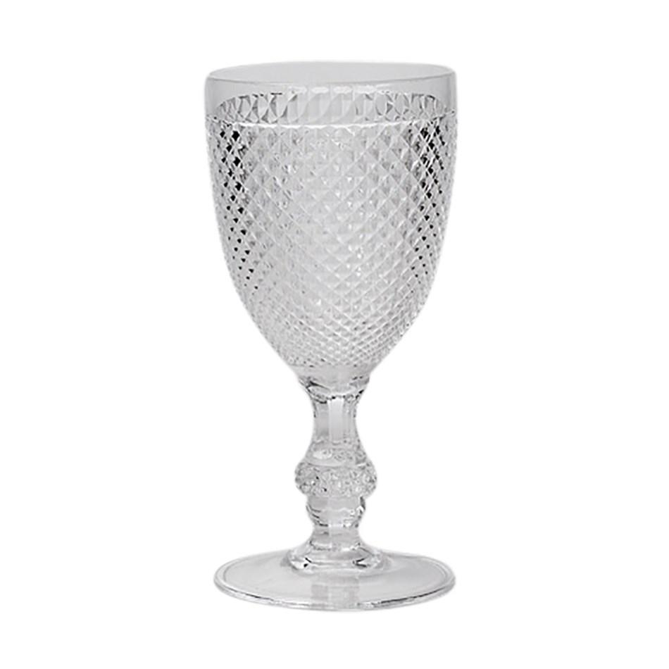 Citta Diamond Cut Acrylic Wine Glass Set of 4 Clear 18cmh -