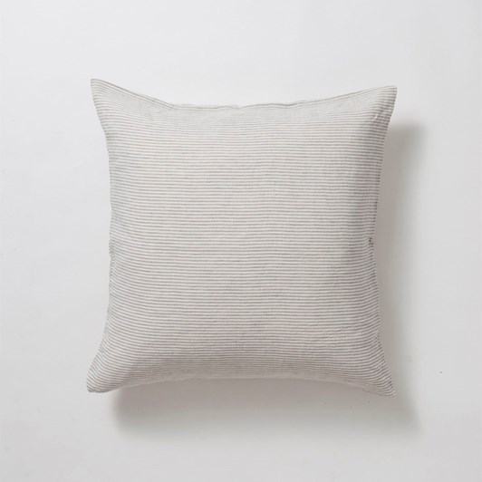 Citta Sove Stripe Linen Euro Pillowcase Ash/Chalk  65x65cm