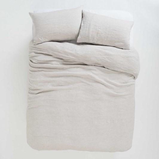 Citta Sove Stripe Linen Duvet Cover Ash/Chalk King 245x210cm