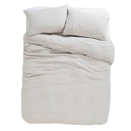Citta Sove Stripe Linen Duvet Cover Ash/Chalk Queen 210x210cm