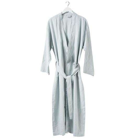 Citta Bella Women's Linen Dressing Gown  Duck Egg Medium