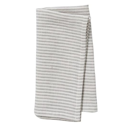 Citta Dine Stripe Linen Napkin Ash/Chalk  45x45cm