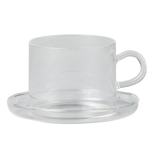 Citta Piuma Tea Cup + Saucer Clear 8cmdiax6.5cmh/12cmdia