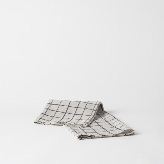 Citta Net Linen Blend Tea Towel Natural/Carbon 55x75cm