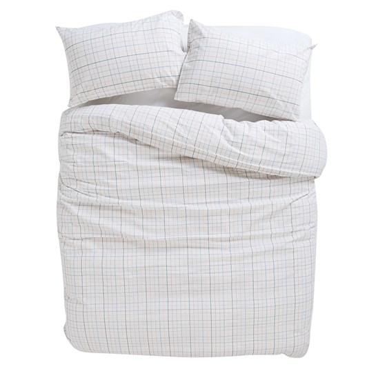 Citta Net Organic Cotton Woven Duvet Cover White/Multi King 245x210cm
