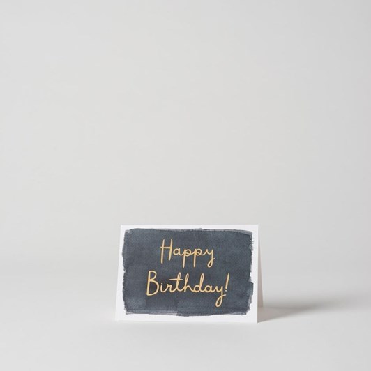 Happy Birthday Card w/Gold Foil Ink  15x10.5cmh