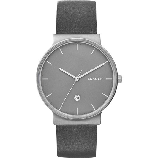 Skagen Ancher Titanium and Gray Leather Watch SKW6320