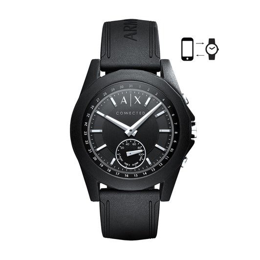 Armani Exchange AX Men's Hybrid Smartwatch, Black Silicone, 44 mm AXT1001