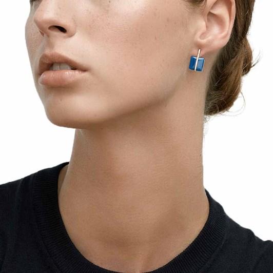Skagen Blue Sea Glass Rose-Tone Drop Earring