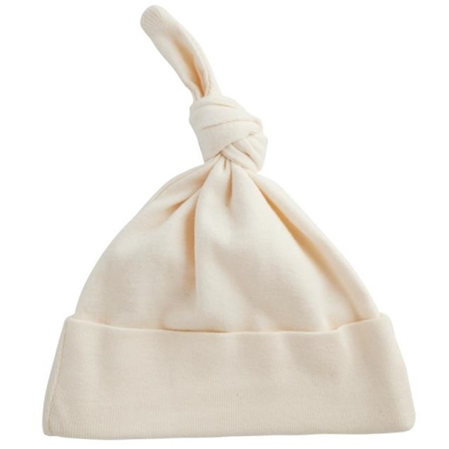 Nature Baby Organic Cotton Knotted Beanie - natural