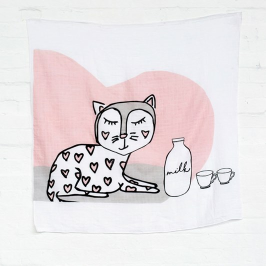 Kippins Kitty Kippintale Cat Hearts Muslin Wrap