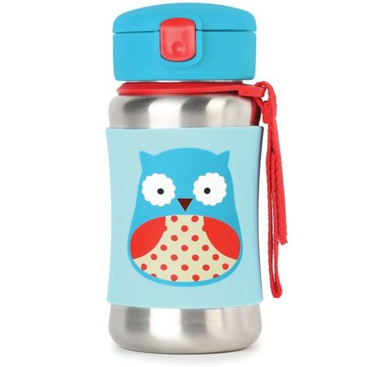 Skip Hop Zoo Ss Straw Bottle - Owl
