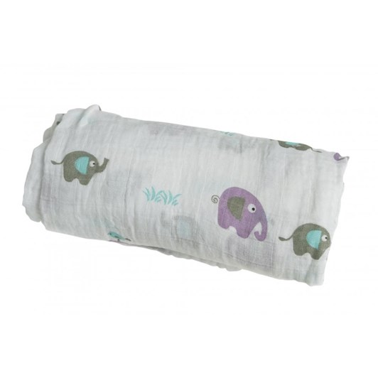 Lulujo Muslin Wrap - Elephants