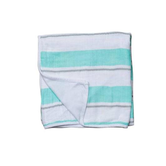 Lulujo Childhood Blanket - Aqua Bold Stripe