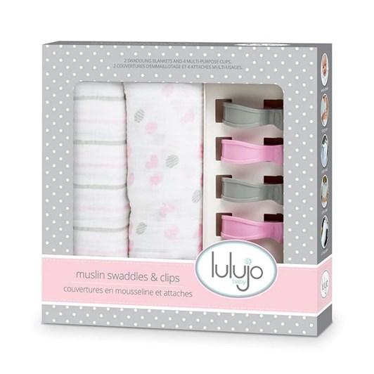 Lulujo Swaddles / Pram Hooks - Pink Stripe/Confetti