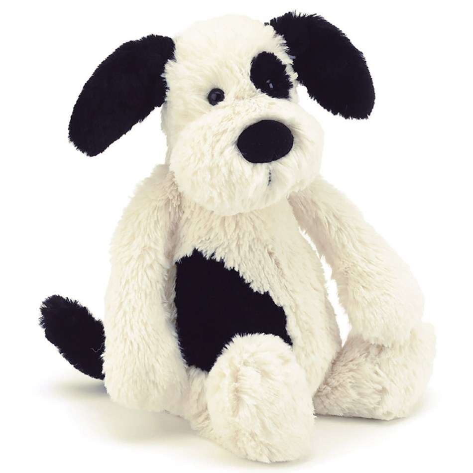 Jellycat Bashful Black & Cream Puppy Medium -
