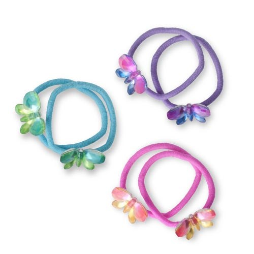 Pink Poppy  Ombre Butterfly Hair Elastics