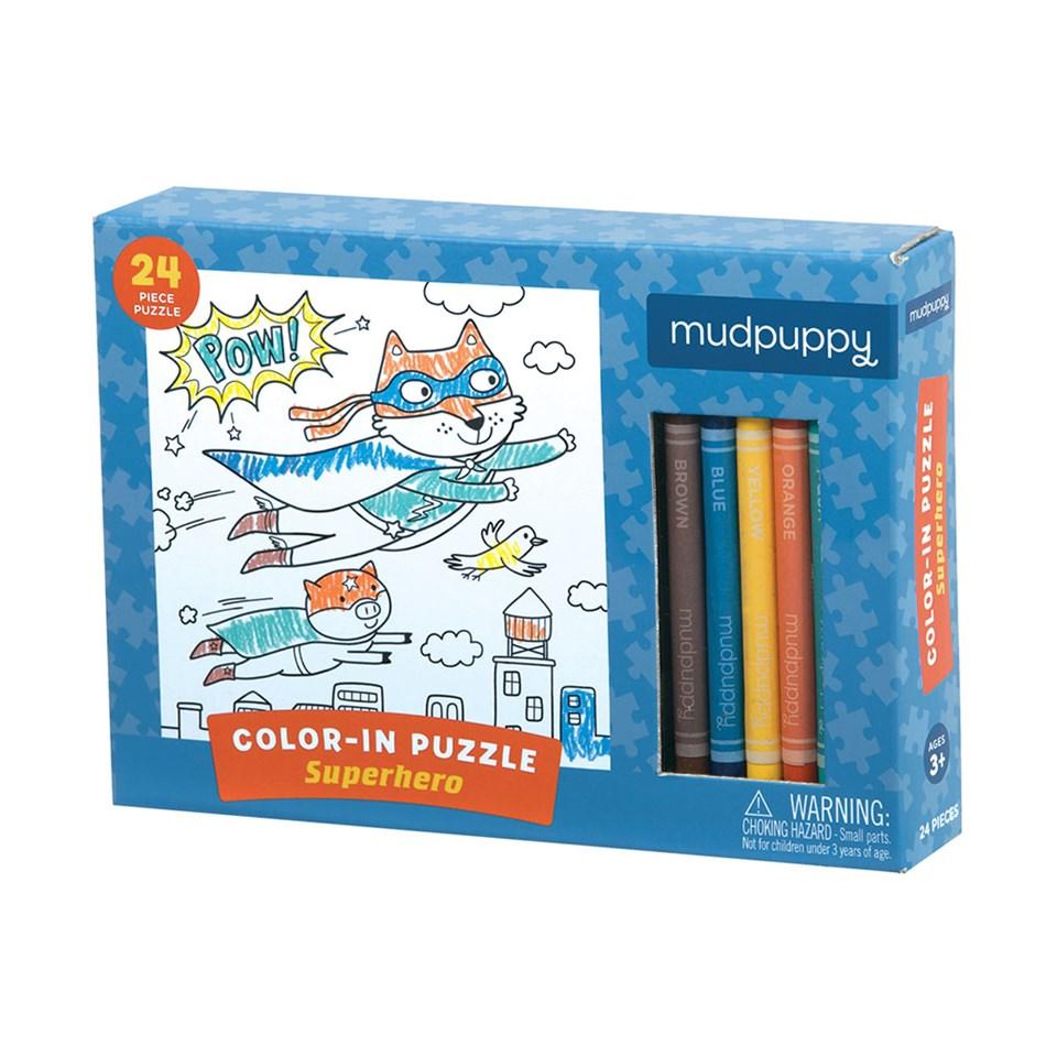 Mudpuppy Superhero Colour In  Puzzle -