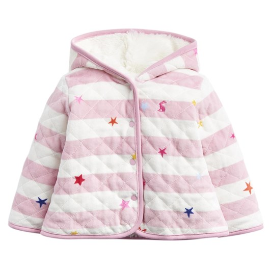 Joules Velour Quilted Fur Line Jacket