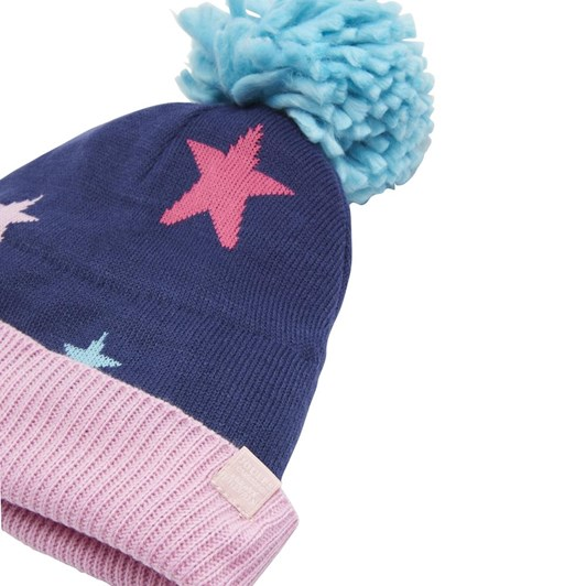 Joules Girls Intarsia Hat With Oversized Pom