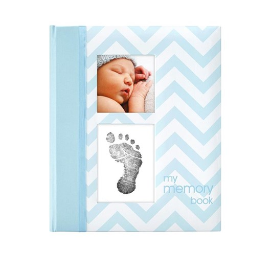 Pearhead Chevron Baby Book/Blue
