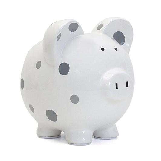 Pearhead Piggy Bank Polka Dot/Grey
