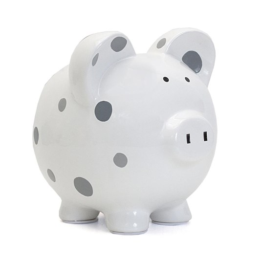Pearhead Piggy Bank Polka Dot/Grey