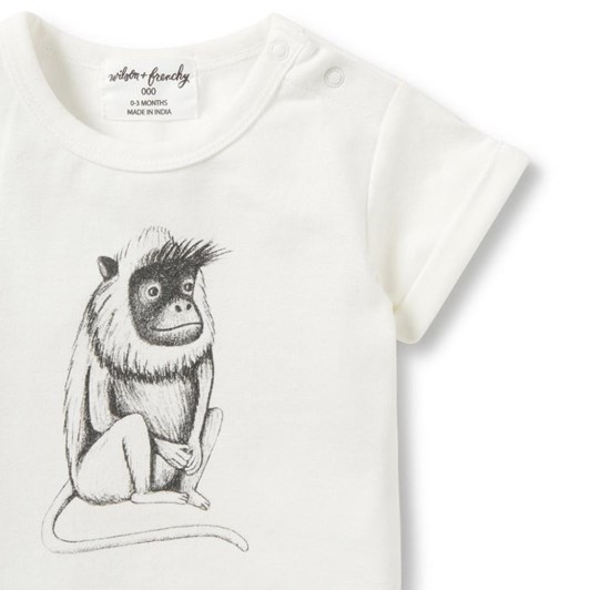 Wilson And Frenchy  Monkey Rolled Cuff Tee
