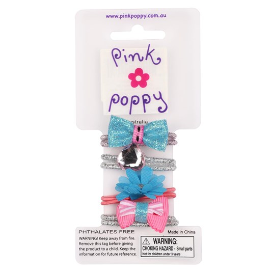 Pink Poppy Pp Bows And Blooms Hair Elastics Set