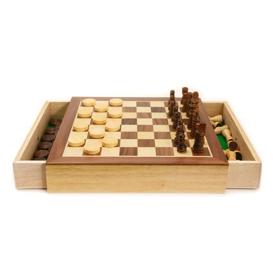 House Of Marbles Wooden Chess and Draughts Set