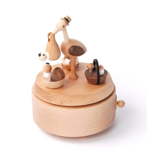 Wooderful Life - Multi Rotate Music Box - Baby Stork Delivery 1pc