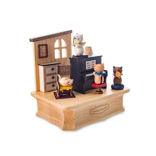 Wooderful Life - Swaying Music Box - Cat Play Piano 1pc