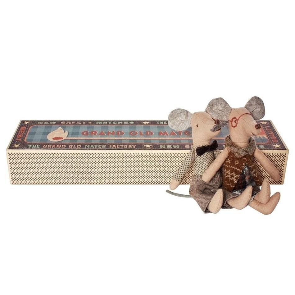 Maileg Mice, Grandpa & Grandma In Matchbox -