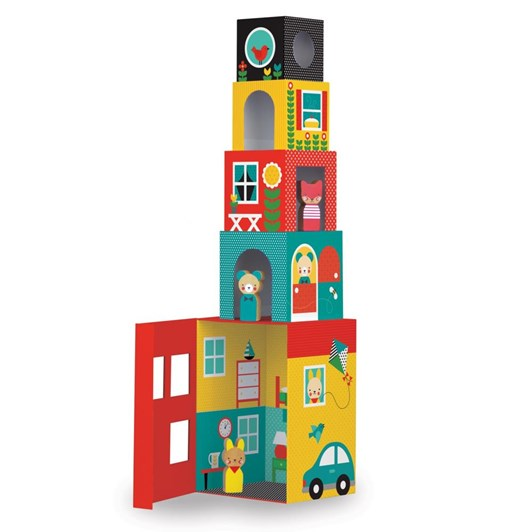 Petit Collage Peek-A-Boo House Stacking