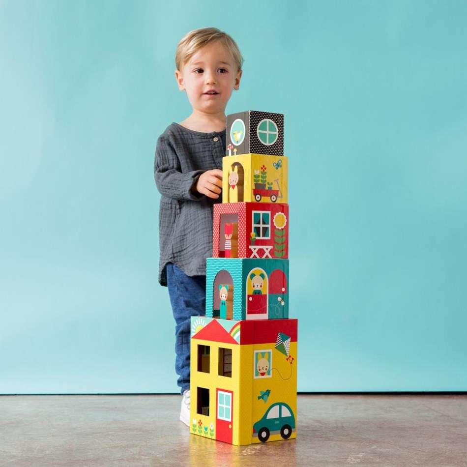 Petit Collage Peek-A-Boo House Stacking - na
